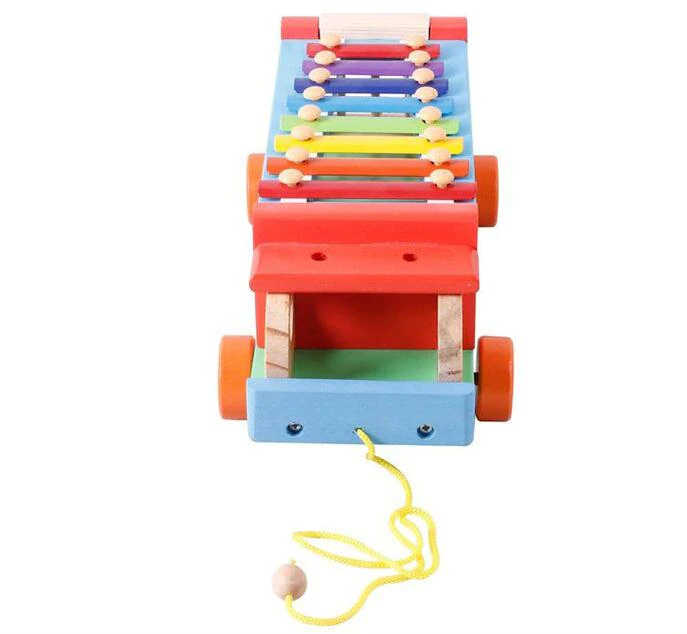 Children 8 Keys Wooden Pull Bus with Animal Shape Sorter Educational Cartoon Hand Knocked Piano Toys for Kidspicture 7