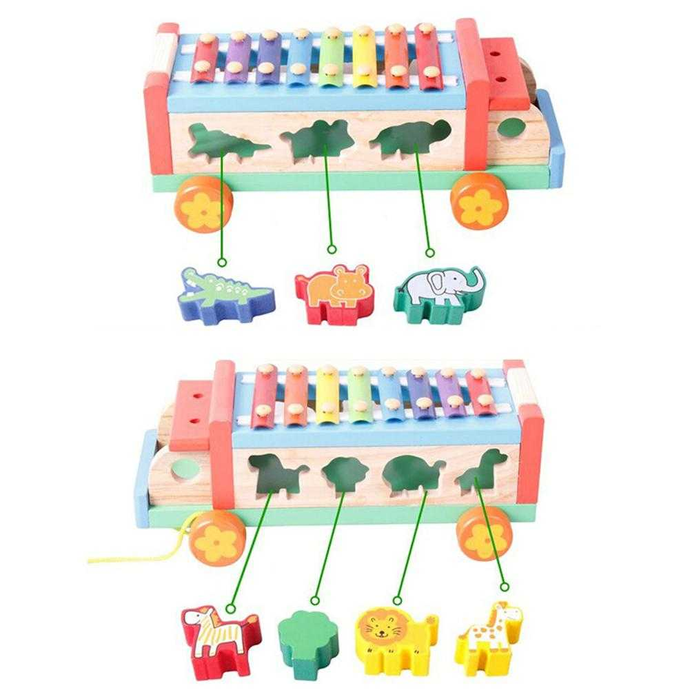 Children 8 Keys Wooden Pull Bus with Animal Shape Sorter Educational Cartoon Hand Knocked Piano Toys for Kidspicture 8