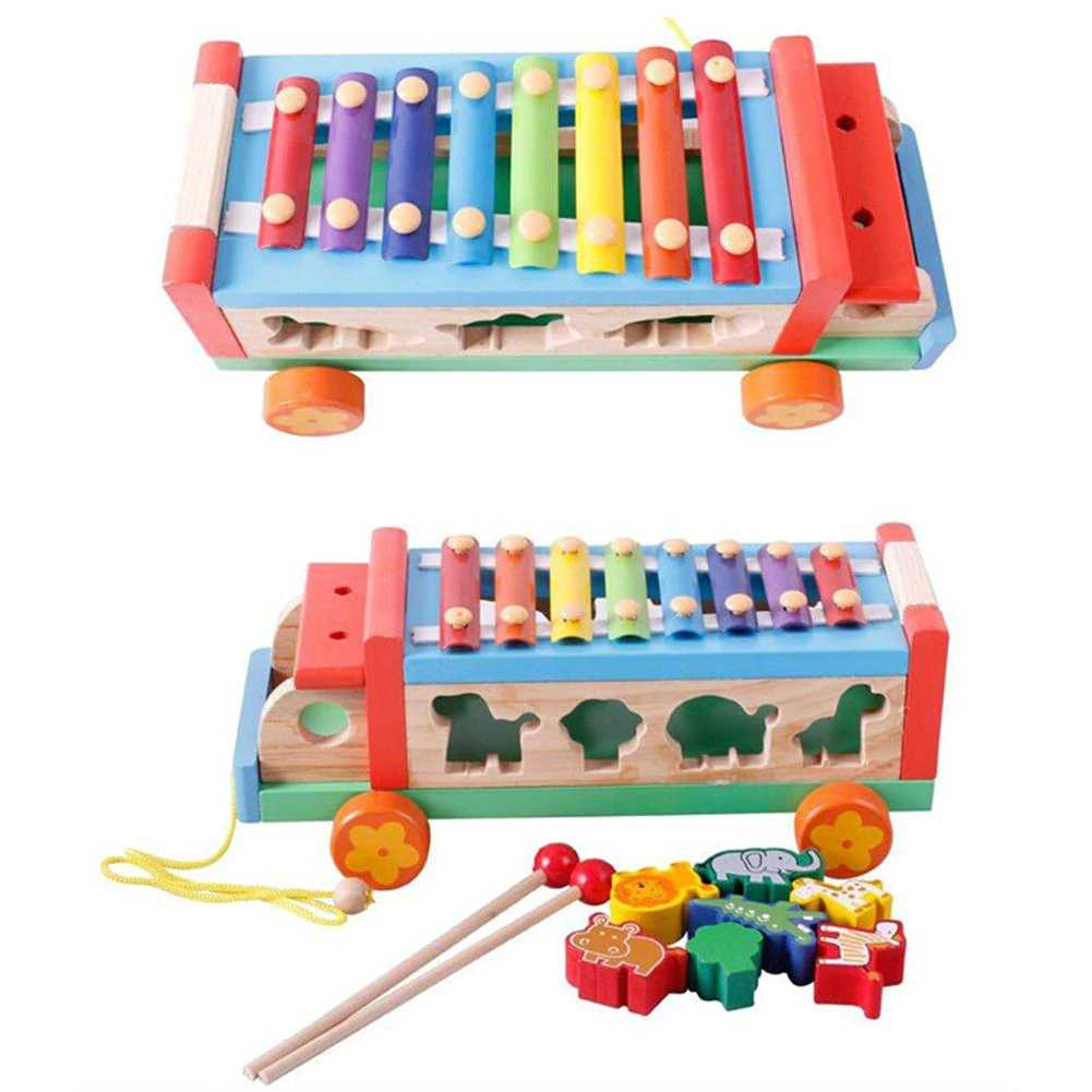 Children 8 Keys Wooden Pull Bus with Animal Shape Sorter Educational Cartoon Hand Knocked Piano Toys for Kidspicture 9