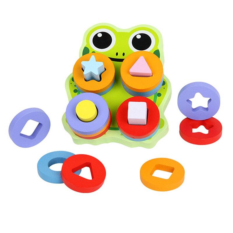 Lovely Frog Geometric Column Blocks Shape Sorter Cognitive ...