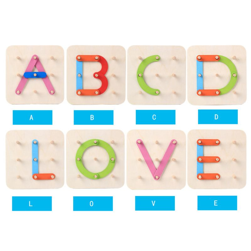 Wooden Letter Number Sorter Puzzle Educational Stacking Blocks Toy Shape Color Construction Sorter Activity Boardpicture 7