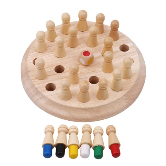 Kids Wooden Memory Match Stick Chess Game. Fun Block Board Educational Color Toy. Cognitive Ability Toy.