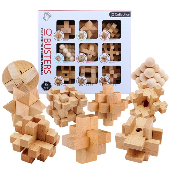 9pcs/set Beech 3D handmade vintage Ming lock Luban wooden toys. Children Educational Puzzle Christmas Gift.