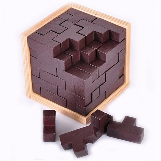 New 54T Educational 3D Puzzles. Ming Luban Interlocking Wooden Toys. Kids Brain Teaser for Children.