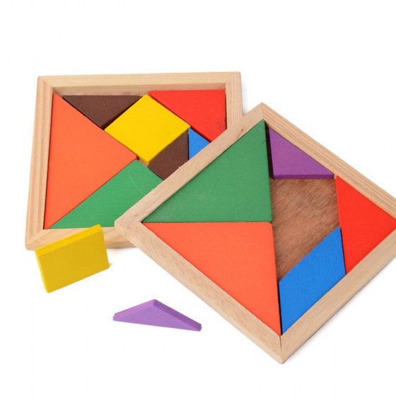 Wooden 7 Pieces Tangram Jigsaw Puzzle. Colorful Geometric Shapes. Teaser Intelligent Educational Toys For Kids