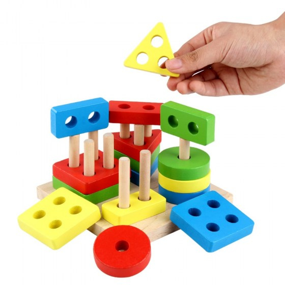 Geometric Shapes Matching Games Educational Wooden Toys for Children. Early Learning Exercises.