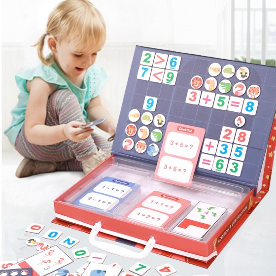 Magnetic Math Arithmetic Addition Subtraction Counting Operation Toy. Mathematical Educational Game.