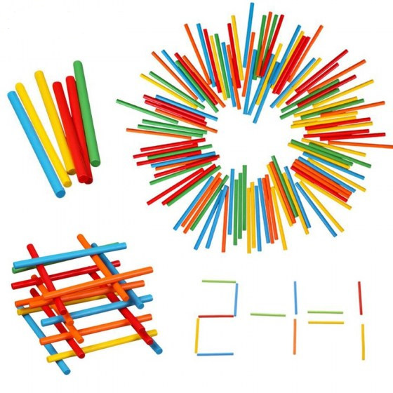 100pcs Colorful Bamboo Counting Sticks. Mathematics Teaching Aids. Counting Rod for Kids and Preschool Math Learning Toy.