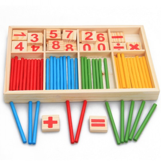 Education Mathematics Math Toys. Arithmetic Counting Sticks. Preschool Spindles Wooden Educational Toys For Kids.