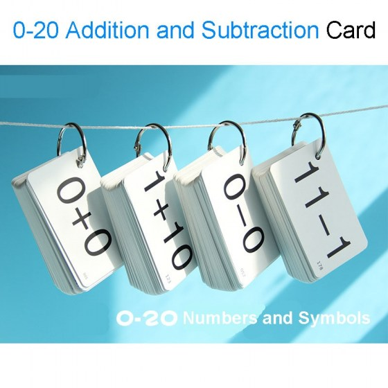 0-20 Math Addition and Subtraction Arithmetic Cards. Baby Learning Flash Cards. Educational Toys for Children.