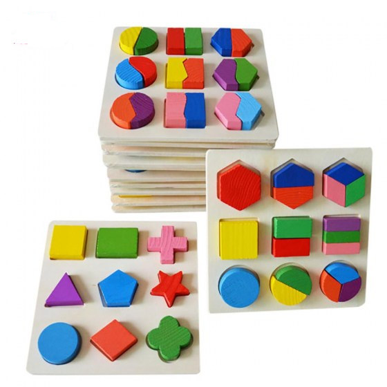 Wooden Geometric Shapes Sorting Math Montessori Puzzle. Preschool Learning Educational Game. Baby Toddler Toys for Children.