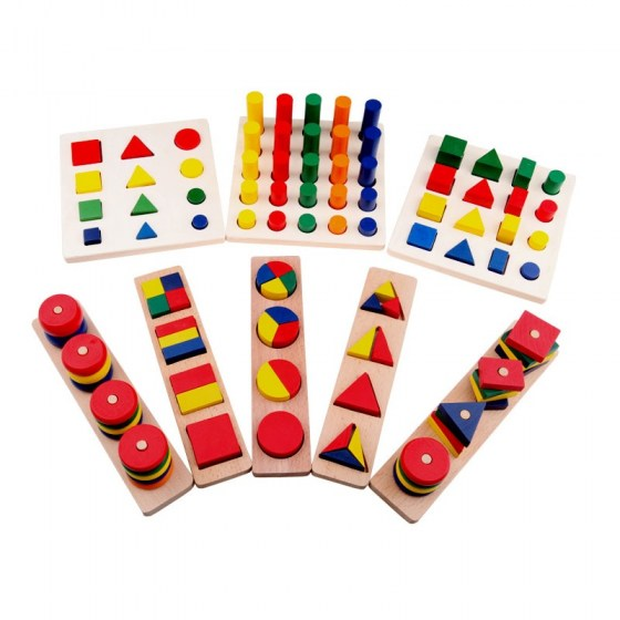 8 pcs Montessori Geometry Shapes,Knobless Cylinders, Fraction,Stacking Sorting Board-Montessori Materials Wooden Educational Toy