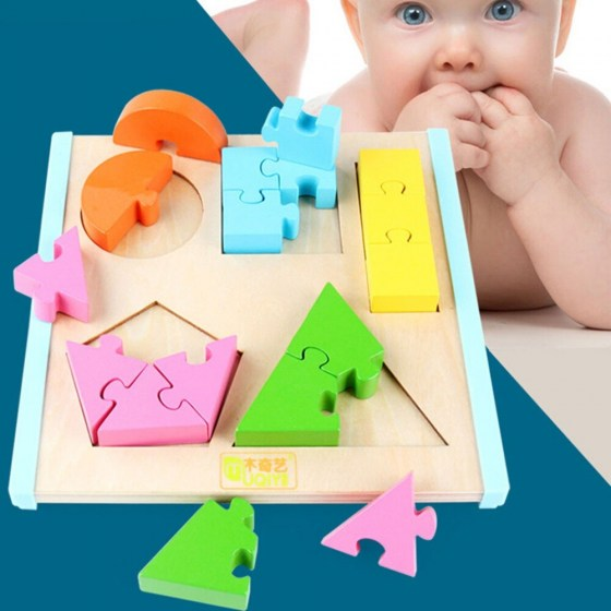 Shape Splice Baby Early Learning Wood Mathematical Development Intelligence Fraction Board Kids Wooden Education Puzzle Toy