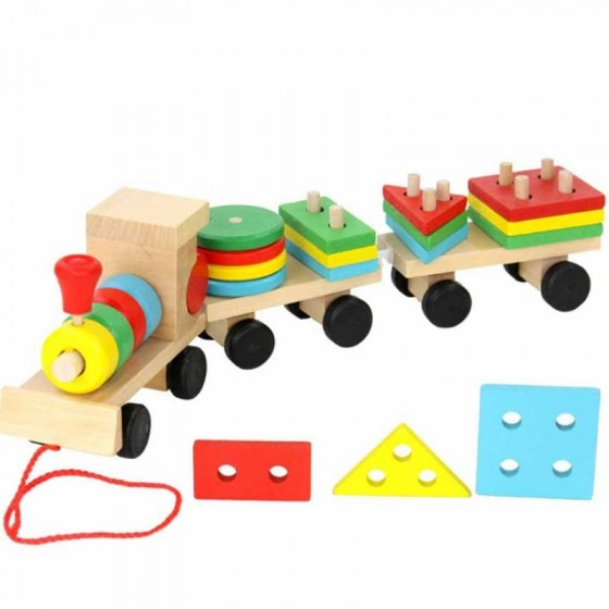 Wooden Toys Vehicle Puzzles Train Educational Kids Baby Wooden Solid Wood Stacking Train Toddler Puzzle For Children