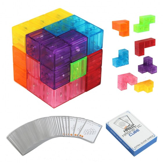 Zhenwei Magnetic Puzzles  7pcs Magnetic Bricks and 54 Smart Cards Braind Toy/Brainteaser Puzzles for Develop Kids Intelligence