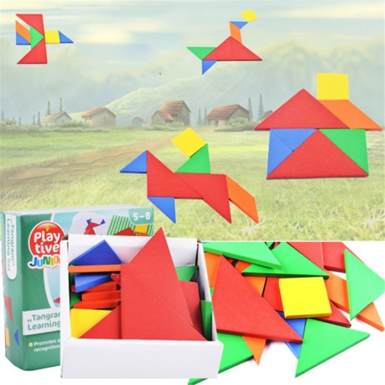 32 PCS/Set DIY Colorful Jigsaw Toys Wooden Children Educational Toys Baby Play Jigsaw Puzzle Junior Tangram Learning Set