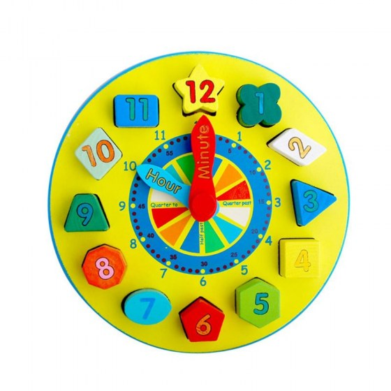 1Set 1Set Wooden Time Clock Number Teaching Sorting Toys Building Blocks Puzzle Tools Kit for Kids Children Educational Toy