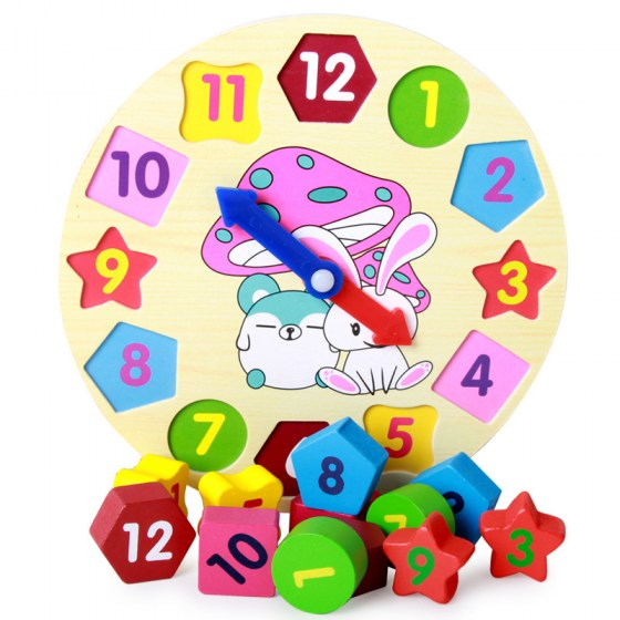 Color Wooden Shape Clock Multi-hole Cognitive Toys Matching Building Blocks Children'S Educational with Numbers Time Teaching Ai