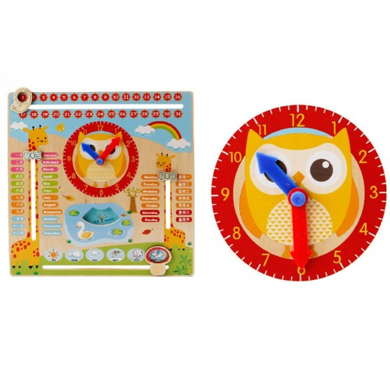 Creative Wooden Education Toy Multifunction Hanging Calendar Clock Toy Kids Children Early Learning Time Month Teaching Aids
