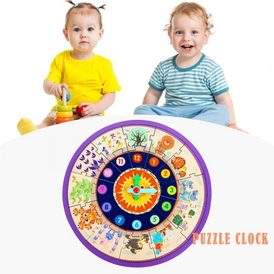 Wooden Shape Sorting Assembly Clock Number Cartoon Puzzle Toy Learning Teaching Time Educational Toy For Kids