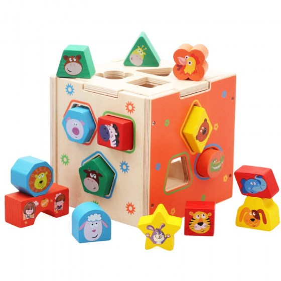 Baby Match Intelligence Box for Shape Sorter Cognitive and Matching Wooden Building Blocks Baby Kids Children Eductional Toys
