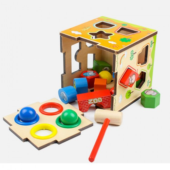 Baby Animal Cognition Toys For Children Wooden Classic Colourful Wooden Multi-function Shape Sorter Block For Kids Birthday Gift