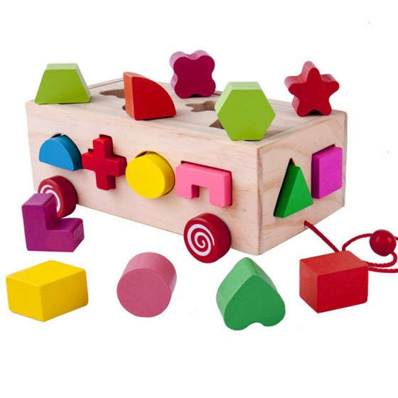 None 16 Holes Intelligence Box Wooden Different Shape Sorter Baby Cognitive and Matching Building Blocks Early Educational Toys