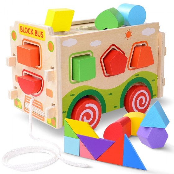 Wooden Shape Sorter Bus with Tangram Classic 3D Push Pull Truck Toy for Toddlers and Baby Color Recognition and Geometry Learnin