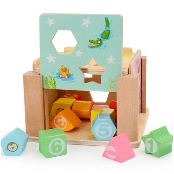12 Holes Intelligence Wooden Toy Shape Sorter Baby Cognitive Matching Building Blocks Kids Children Early Eductional Toys D82