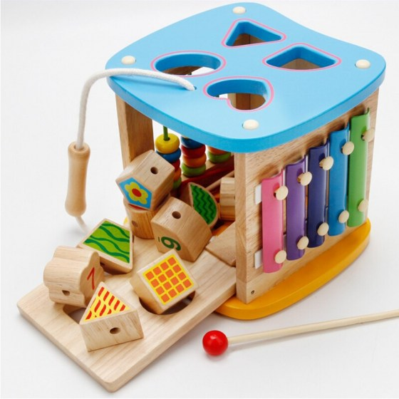 Hot sale Baby Toys Wood Multifunctional Intelligence Box Children Wooden Multi Shape Matching Sorter Block for Kids Gift