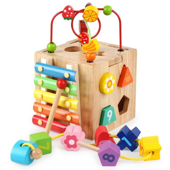 None Wooden Cube Bead Maze Roller Coaster with Shape Sorter Clock Knock Piano Kids Learning Educational Counting Toys