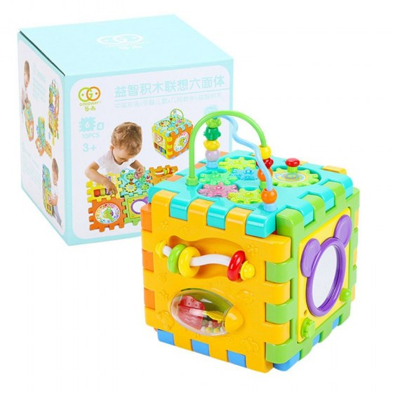 Baby Activity Cube Toddler Toys 6 in 1 Shape Sorter Baby Activity Play Centers R7RB