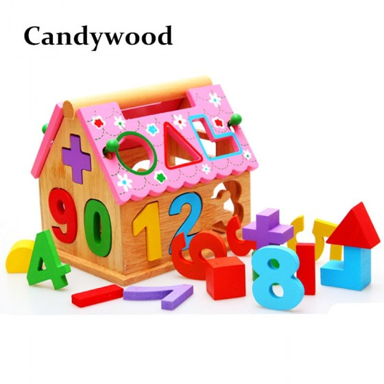 Candywood wooden house Intelligence Box for Shape Sorter Cognitive & Matching Wooden Building Blocks math toys for Children kids