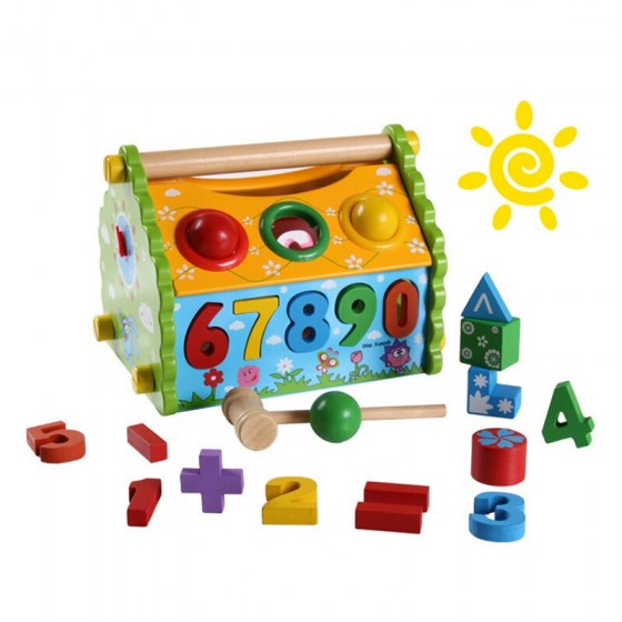 3D Puzzle Education Toy DIY Model House Shape Sorter Digital cognition Hammer Pounding Bench Wooden Toys For Toddlers & Children