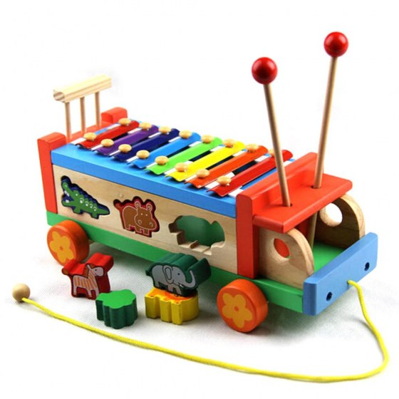 Children 8 Keys Wooden Pull Bus with Animal Shape Sorter Educational Cartoon Hand Knocked Piano Toys for Kids