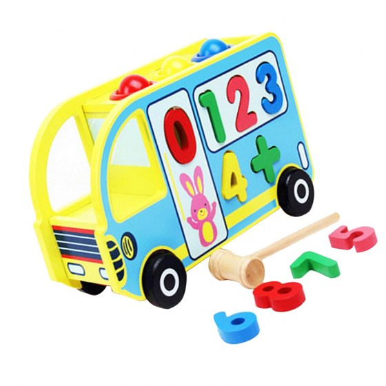 Wooden Numbers Shape Sorter Bus for Toddlers - Pounding Toy with wood Hammer
