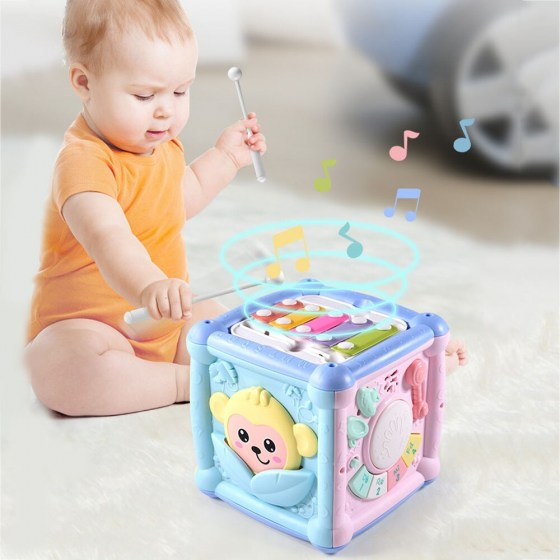 Multifunction Musical Drum Activity Cube Shape Blocks Sorter Education Kids Toy For Kids Early Learning Muical Keyboard