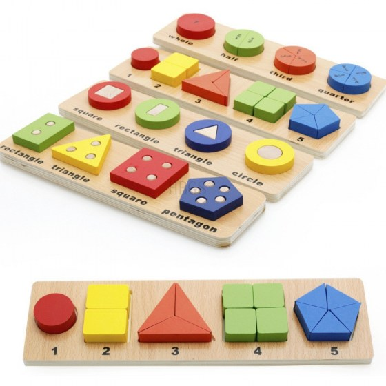 Montessori Educational Wood Toy Geometric Shape Sorter Sorting Board Puzzle Building Block Set Early Children Toys