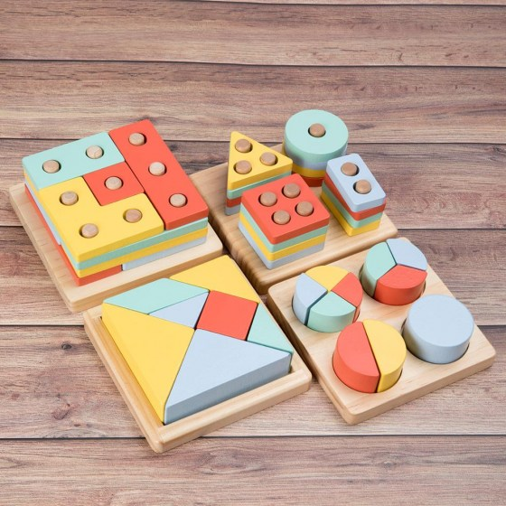 Kids Toys Wooden Toys Montessori Materials Geometry Shape Cognitive Matching Game Puzzle Toy Early Educational Toys for Children