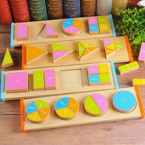 Wooden Geometric Shape Color Puzzles Sorter Fraction Board Education Kids Toy New