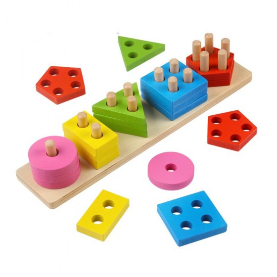 Wooden Color Recognition & Shape Sorter, Colorful Geometric Board Sorting & Stack Chunky Puzzle Toys