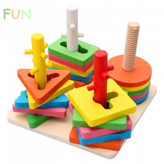 Baby 5 colors 4 Pillars Geometric Shapes Sorting Nesting Stack Toy Learning Geometry Puzzle Educational Toys sorter For Children