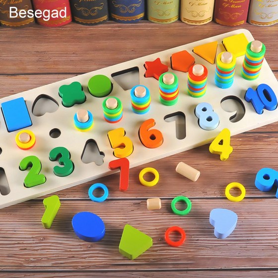 Colorful Wooden Montessori Math Blocks Shape Sorter Number Stacking Learning Toy for Kid Kindergarten Preschool Counting