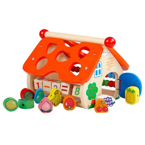 Baby Toys for Children Wooden House Classic Multi Shape Sorter Block for Kids Threading Early Educational Game Christmas Gift