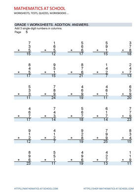 GRADE 1 WORKSHEETS: Add 3 single-digit numbers in columns. Problems with answers
