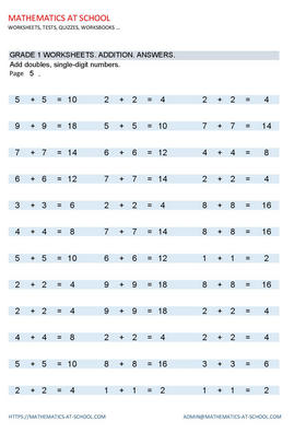 GRADE 1 WORKSHEETS: Add doubles, single-digit numbers. Worksheets with answers. Answers