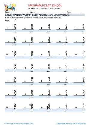 Kindergarten addition and subtraction worksheets: adding or subtracting numbers up to 10