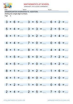 kindergarten worksheets add two single digit numbers. Black Bedroom Furniture Sets. Home Design Ideas