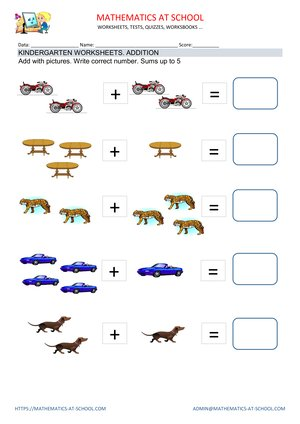 Kindergarten addition with pictures worksheets: examples