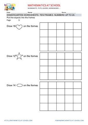 Kindergarten worksheets: ten frames (count objects and frames)